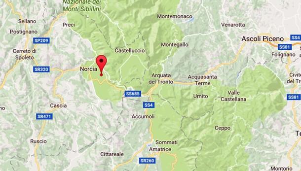 Due scosse di terremoto di magnitudo 3.9 vicino Norcia