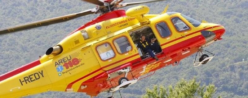 Elicottero Lecco : Cade sul sentiero grignone all ospedale di lecco in