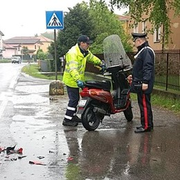 Incidente a Robbiate ,scooter contro auto  Paura per una donna