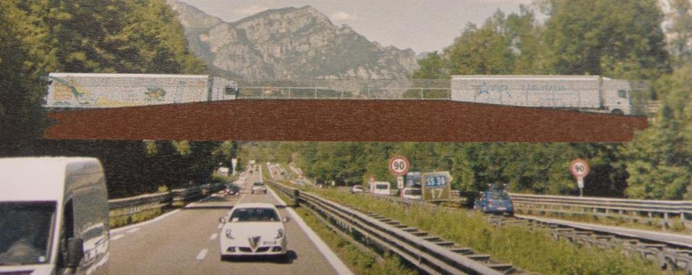 Annone: ponte antisismico a una campata   Con pista laterale per biciclette e pedoni