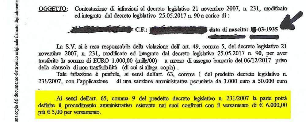 L'assegno tra padre e figlio costa caro  Multa da seimila euro per un centesimo