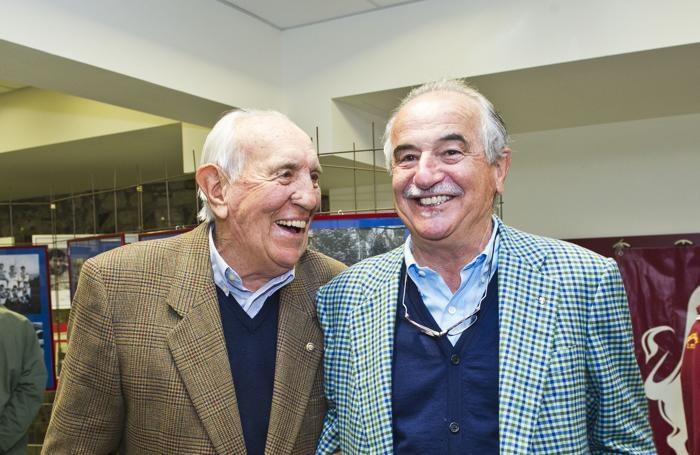 Emiliano Mondonico a San Bartolomeo per la ricorrenza del 50° dalla morte di Gigi Meroni. Con lui Livio Prada