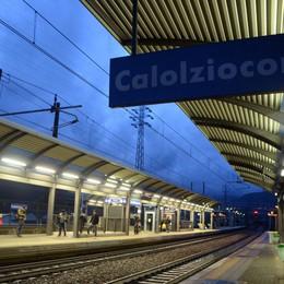 Albero caduto vicino alla linea ferroviaria  Treno fermo dalla stazione di Calolzio