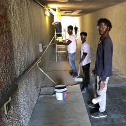 Calolzio, volontari e migranti   Al lavoro per riqualificare i sottopassi