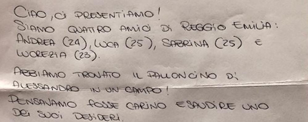 Il palloncino arriva a Reggio Emilia  E Babbo Natale risponde