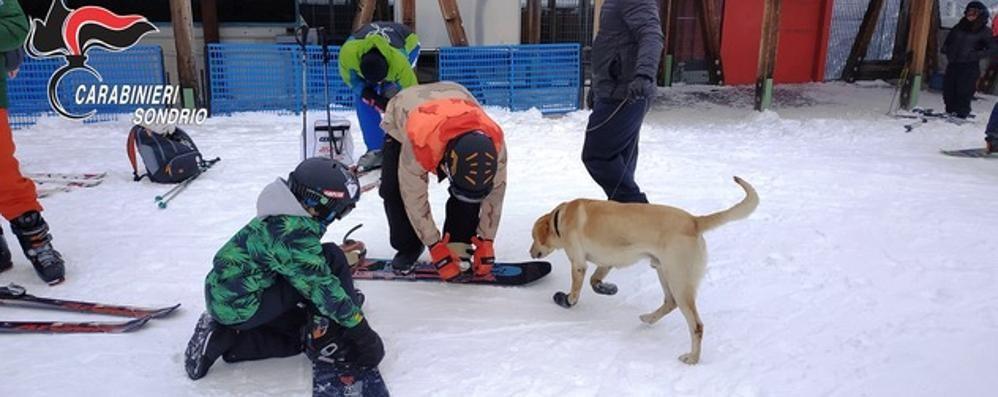 Controlli antidroga sulle piste del Palù  Padre di famiglia fuma prima di sciare