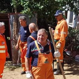 Casargo: alpini al lavoro  nell'area del nubifragio