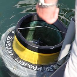 """Plastica nel lago, Bellano al contrattacco  Arriva il """"cestino"""" che ingabbia i rifiuti"""