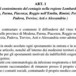 """Coronavirus: tutta la Lombardia  """"zona rossa"""": vietato entrare e uscire  Giallo sui lavoratori frontalieri  Il TESTO DEL DECRETO"""